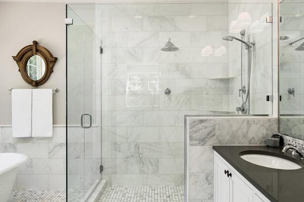 حمام شیشه ای | شیشه دور دوشی